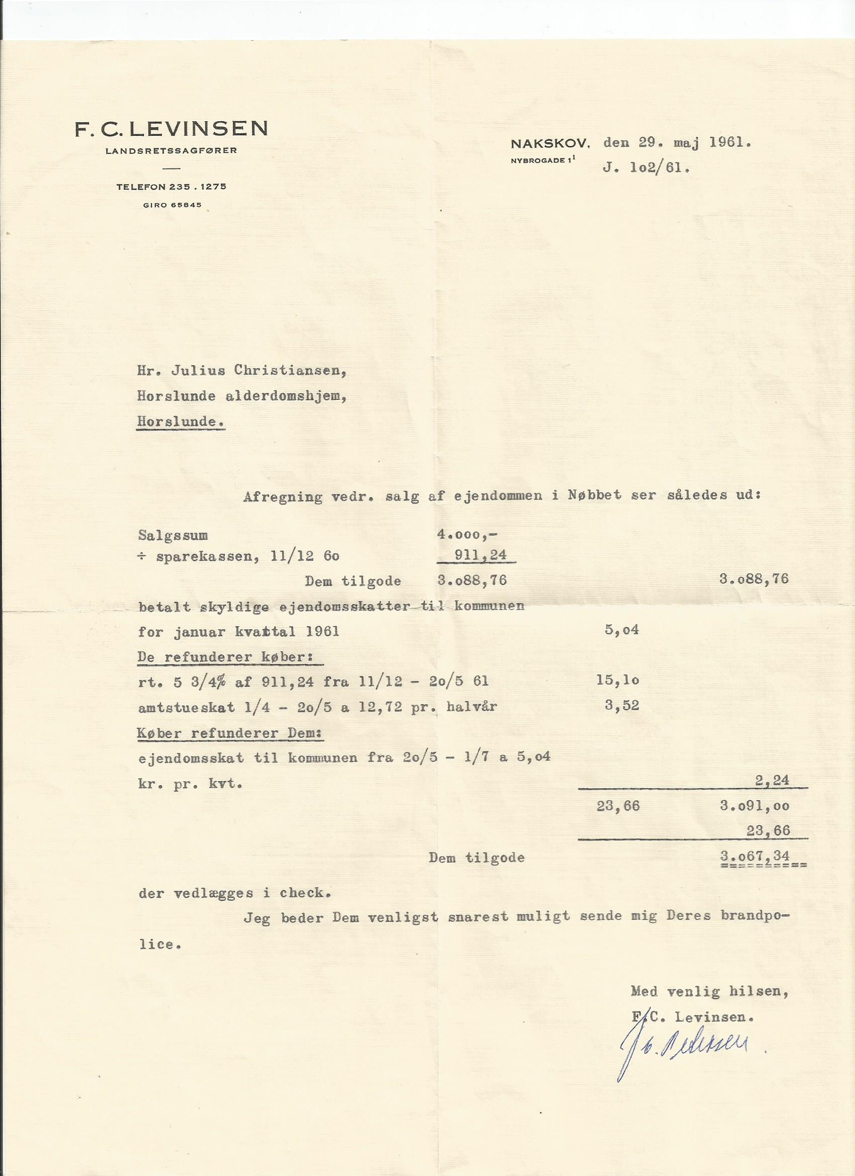 Salg af huset i 1961
