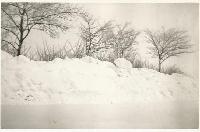 Sne langs vejen i Skodsebølle, Lolland, i vinteren 1955-56